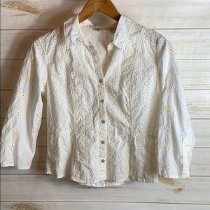 J. Jill~ Embroidered Shirt, Small Petite